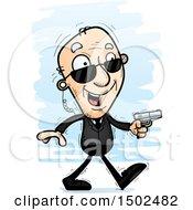 Clipart Of A Walking Caucasian Senior Man Secret Service Agent Royalty Free Vector Illustration