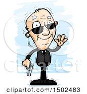 Clipart Of A Waving Caucasian Senior Man Secret Service Agent Royalty Free Vector Illustration