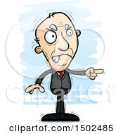 Mad Pointing Caucasian Senior Business Man