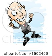 Clipart Of A Jumping Energetic Caucasian Senior Business Man Royalty Free Vector Illustration