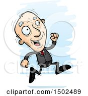 Running Caucasian Senior Business Man