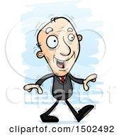 Walking Caucasian Senior Business Man