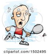 Clipart Of A Tired Caucasian Senior Man Badminton Player Royalty Free Vector Illustration