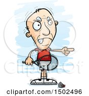 Clipart Of A Mad Pointing Caucasian Senior Man Badminton Player Royalty Free Vector Illustration