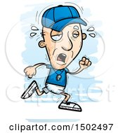 Clipart Of A Tired Running White Senior Male Coach Royalty Free Vector Illustration