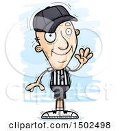 Clipart Of A Waving White Senior Male Referee Royalty Free Vector Illustration by Cory Thoman
