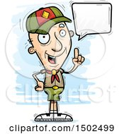 Clipart Of A Talking White Senior Male Scout Royalty Free Vector Illustration