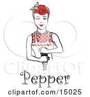 Red Haired Housewife Or Maid Woman Grinding Fresh Pepper While Cooking With Text