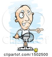 Clipart Of A Mad Pointing Caucasian Senior Male Tennis Player Royalty Free Vector Illustration