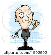 Clipart Of A Waving Caucasian Senior Business Man Royalty Free Vector Illustration