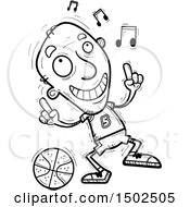 Clipart Of A Senior Male Basketball Player Doing A Happy Dance Royalty Free Vector Illustration