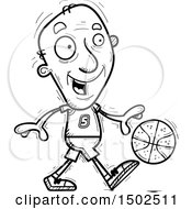 Clipart Of A Dribbling Senior Male Basketball Player Royalty Free Vector Illustration