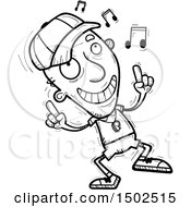 Clipart Of A Senior Male Coach Doing A Happy Dance Royalty Free Vector Illustration