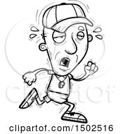 Clipart Of A Tired Running Senior Male Coach Royalty Free Vector Illustration