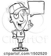 Clipart Of A Talking Senior Male Coach Royalty Free Vector Illustration