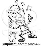 Clipart Of A Senior Male Rugby Player Doing A Happy Dance Royalty Free Vector Illustration