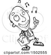 Clipart Of A Senior Male College Student Doing A Happy Dance Royalty Free Vector Illustration