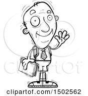 Clipart Of A Waving Senior Male College Student Royalty Free Vector Illustration