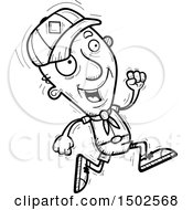Clipart Of A Running Senior Male Scout Royalty Free Vector Illustration