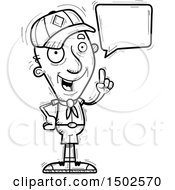 Clipart Of A Talking Senior Male Scout Royalty Free Vector Illustration