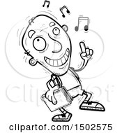 Clipart Of A Senior Male Community College Student Doing A Happy Dance Royalty Free Vector Illustration