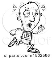 Clipart Of A Tired Running Senior Male Track And Field Athlete Royalty Free Vector Illustration