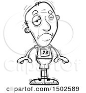 Clipart Of A Sad Senior Male Track And Field Athlete Royalty Free Vector Illustration
