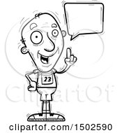 Clipart Of A Talking Senior Male Track And Field Athlete Royalty Free Vector Illustration