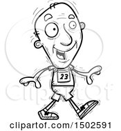 Clipart Of A Walking Senior Male Track And Field Athlete Royalty Free Vector Illustration