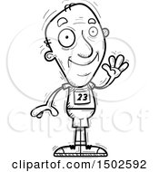 Clipart Of A Waving Senior Male Track And Field Athlete Royalty Free Vector Illustration