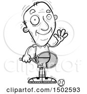 Clipart Of A Waving Senior Male Tennis Player Royalty Free Vector Illustration