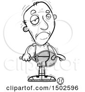Clipart Of A Sad Senior Male Tennis Player Royalty Free Vector Illustration
