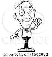 Clipart Of A Waving Senior Man In A Tuxedo Royalty Free Vector Illustration