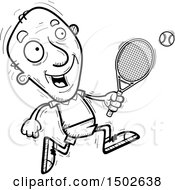 Clipart Of A Running Senior Male Tennis Player Royalty Free Vector Illustration