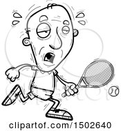 Clipart Of A Running Tired Senior Male Tennis Player Royalty Free Vector Illustration