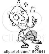 Clipart Of A Happy Dancing Senior Male Tennis Player Royalty Free Vector Illustration