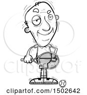 Clipart Of A Confident Senior Male Tennis Player Royalty Free Vector Illustration