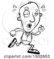 Clipart Of A Tired Running Senior Business Man Royalty Free Vector Illustration