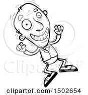 Clipart Of A Jumping Energetic Senior Business Man Royalty Free Vector Illustration