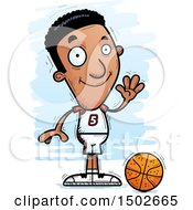 Clipart Of A Waving Black Male Basketball Player Royalty Free Vector Illustration