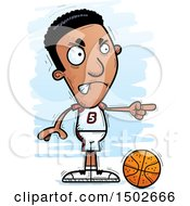 Clipart Of A Mad Pointing Black Male Basketball Player Royalty Free Vector Illustration