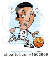 Clipart Of A Tired Running Black Male Basketball Player Royalty Free Vector Illustration