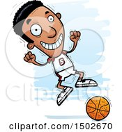 Clipart Of A Jumping Black Male Basketball Player Royalty Free Vector Illustration