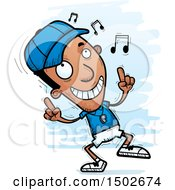 Clipart Of A Black Male Coach Doing A Happy Dance Royalty Free Vector Illustration
