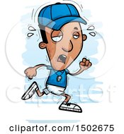 Clipart Of A Tired Running Black Male Coach Royalty Free Vector Illustration