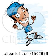 Clipart Of A Jumping Black Male Coach Royalty Free Vector Illustration