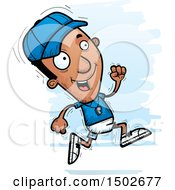 Clipart Of A Running Black Male Coach Royalty Free Vector Illustration