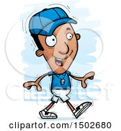Clipart Of A Walking Black Male Coach Royalty Free Vector Illustration