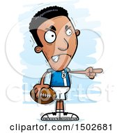 Clipart Of A Mad Pointing Black Male Football Player Royalty Free Vector Illustration