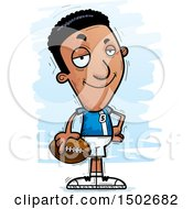Clipart Of A Confident Black Male Football Player Royalty Free Vector Illustration